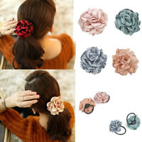 Elastic Rope Hair Bands Scrunchie Ponytail Holder Rose Flower Hairband Accessory