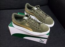 69e492f5c48a Puma Suede Metallic Shoes Youth Us 5  Womens Us 6.5 Olive Gold White Brand  New