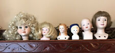 6 Vtg Small Porcelain Doll Heads Parts 3 1/4� Largest Wigs Molded Hair