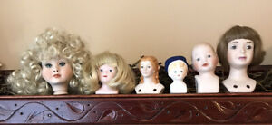 """6 VTG Small Porcelain Doll Heads Parts 3 1/4"""" Largest Wigs Molded Hair"""