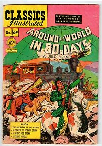 """Classics Illustrated #69 """"Around the world in 80 Days"""" March 1950 VG Condition"""