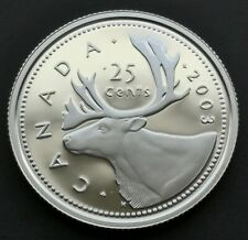 *** CANADA  25  CENTS  2003 ***  PROOF  ULTRA  HEAVY  CAMEO  ***