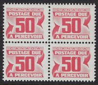 """Scott J40: 50c Red Due, block of 4 with """"Hawaii 5 hole in 0"""" variety on LR, NH"""