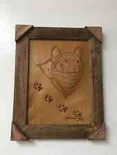 "HAND TOOLED LEATHER ART,WOLF FACE,FRAMED,10""X8"",HAND CRAFTED DECOR,ART,WALL ART"
