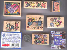 7 Sewing Quilting Rubber Stamp Set Hero Arts LL402  Wood Mounted