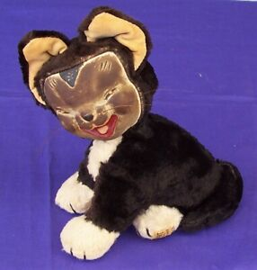 Vintage Merrythought Cheshire Black Cat Toy England Reg'd Design c1950's