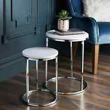 White High Gloss Nest of 2 Round Tables With shiny Chrome Legs Coffee Side Table