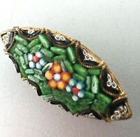 1950s Micromosaic Brooch Vintage Retro Mid Century Green Black Oval Pin Gift