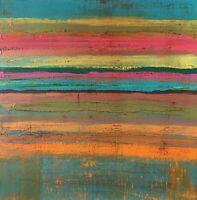 """Original Abstract Art 12"""" x 12"""" Signed Acrylic Painting on Canvas Folk Farmhouse"""