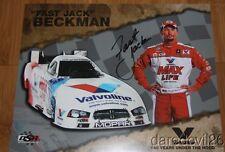 """2014 """"Fast"""" Jack Beckman signed Valvoline Dodge Charger Funny Car Nhra postcard"""