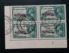 CAYMAN ISLANDS 1935 KG V 1/2d diagonal line by turret SG 108f x 2 R10/1 10/2 VFU