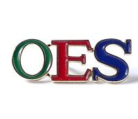 OES Colored Letters Lapel Pin with Gold Trim -New! Order of the Eastern Star