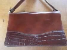 Spanish Brown Leather Handbag Crocodile pattern Shoulder Strap Brass Trim VGC