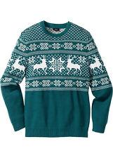Herren Pullover Motiv Weihnachten grün beige Stern Rentier Gr. 44/46 S neu 786