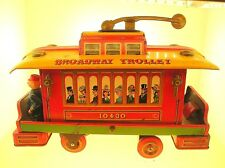 VINTAGE 1960'S TIN LITHO BROADWAY TROLLEY BY MODERN TOYS - JAPAN - BATTERY RUN