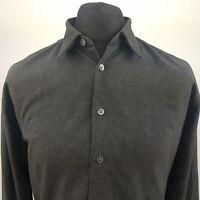 HUGO BOSS Mens Vintage THICK Shirt LARGE Long Sleeve Grey Regular Fit Cotton