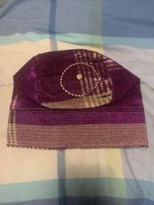 New Metallic Purple/Gold African Men Aso Oke Fila Cap Approx.22.5Inches