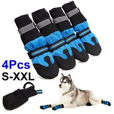 4PCS Waterproof Anti-slip Pet Dog Shoes Boots Booties Snow Winter Reflective r