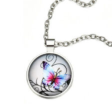 Vintage Mystical Butterfly Pendant Cabochon Glass Chain Pendant Necklace Jewelry
