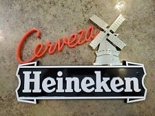 "Vintage Cerveza Heineken Beer Plastic Wall Sign Van Munching Ny 7.75"" x 11.5"""