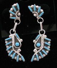 Zuni Indian Earrings 50% off Turquoise Needle Point Kokopelli Post Sterling Silv