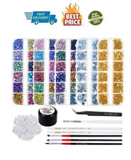 8240pcs Nail Rhinestones, For Nails, Gems Crystals Art Supplies With Glue Beauty