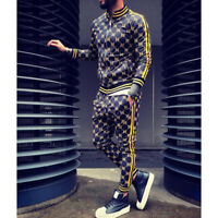 Men Jogger Tracksuit 2 Piece Casual Pant Jacket Sweatsuit Hip Hop Sweatshirt Set
