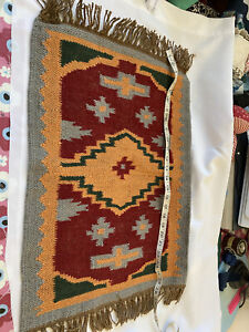 Small Kilim Rug Wool Jute Indian 28 Inch X 16 Kelim Handmade Red Brown