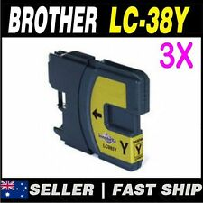 3x Yellow Ink for Brother LC38 LC-38 DCP-145C DCP-165C DCP-195C DCP375CW MFC250C