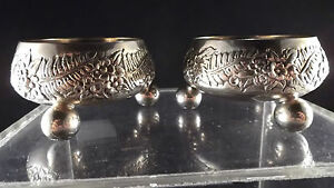 Pair Tiffany Repousse Sterling Silver Open Salts