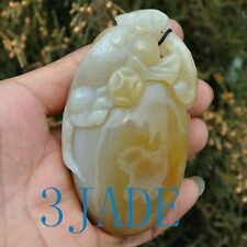 89mm Hand Carved Natural Chalcedony / Agate Lizard Paperweight / Amulet