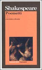 Poemetti. Testo originale a fronte, SHAKESPEARE, GRANDI LIBRI GARZANTI CLASSICI