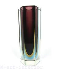 Block Vase Facetten Glas Vase 3-fach sommerso Flavio Poli Murano Italy 1950s-60s