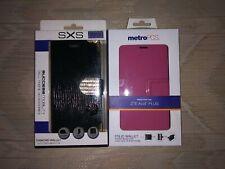 2 ZTE Avid Plus Phone Cases New Pink Folio Wallet Black Gold Diamond Wallet SXS
