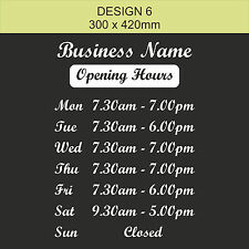 OPENING TIMES + SHOP NAME Window, Wall Sign Vinyl Decal Sticker, opening hours 6