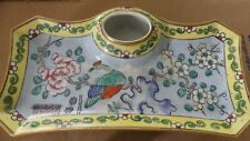 Antique China Porcelain Pottery  Signed Aladin France Inkwell Pen Jewelry Tray