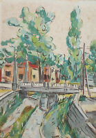 Vintage impressionist gouache painting cityscape signed