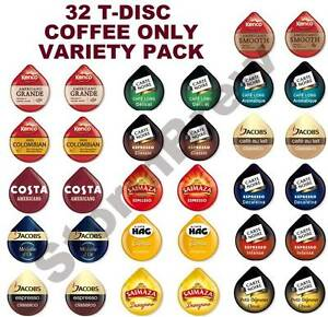 32 TASSIMO T DISCS COFFEE ONLY VARIETY TASTER, STARTER PACK. PODS CAPSULES
