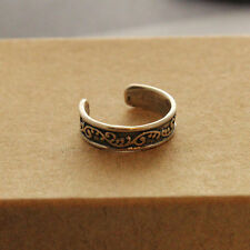 Antique Silver Toned FLORAL LINE RING Thumb/ Wrap Ring. ADJUSTABLE. Boho Chic