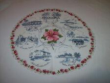 VINTAGE AROUND  FLORIDA 1950'S SCALLOPED ROUND TABLE SCARF HANKIE HANDKERCHIEF