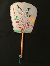 Vintage Asian Chinese Rigid Hand Fan With Bamboo Handle Butterfly And Floral