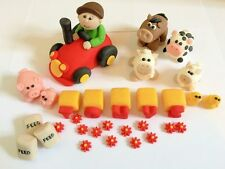 edible farm cake toppers, tractor, animals, cow, farmer etc
