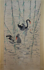 Excellent Chinese 100% Hand Painting & Scroll Landscape By Wu Guanzhong 吴冠中 天鹅湖