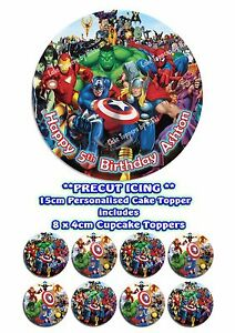 Precut Icing Marvel Superhero Personalised 15cm Cake Topper & 8 Cupcake Toppers
