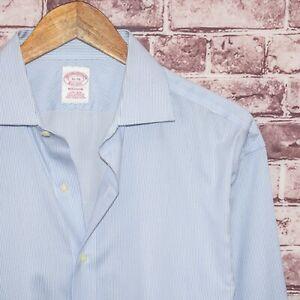 Brooks Brothers MADISON fit Men's Button up Dress Shirt Blue Stripes Sz 16 36
