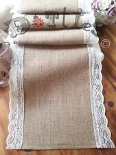 32ft Beautiful Hessian and Lace Table Runners