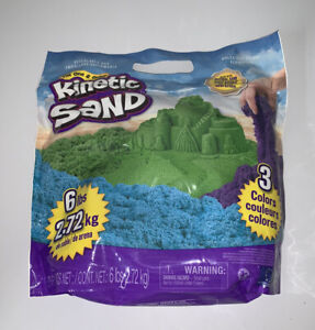 Kinetic Sand 3 Colours 6lbs Blue Green Purple Bag Made with Natural Sands Mix