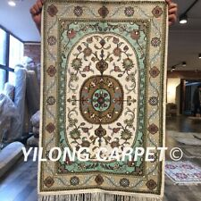 Yilong 2'x3' Classic Handmade Medallion Silk Carpet Bedroom Handcraft Rug W272C