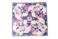 "Mid-sized Square Silk Scarf 28""x28"" Blue Theme Flower Print ZFD001"