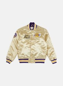 Mitchell Ness LAKERS 2000 FINALS 16 x CHAMPIONS Satin Jacket GOLD PURPLE SOLD AS